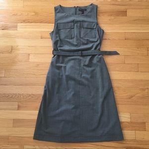 Banana Republic gray belted knee length dress